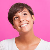 Beautiful Young Woman Portrait on Fuchsia Background — Stock Photo