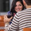 Romantic Young Couple at Restaurant — Stock Photo