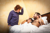 Man with Lover Caught by his Wife — Stock Photo
