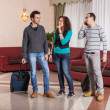 Group of with Trolley in the Hall — Stock Photo #16825981