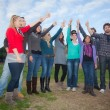 College Students with Thumbs Up — Stock Photo #17866965