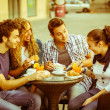 Group of Friends Having a Traditional Italian Breakfast — Stock Photo #18185321