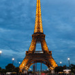 PARIS, FRANCE - OCTOBER 1: Tour Eiffel at Night on October 1, 20 — Stock Photo