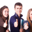 Teenage Students Making Victory or Peace Sign — Stock Photo #18238395
