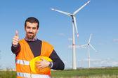 Inženýr technik v elektrárně generátoru větrné turbíny — Stock fotografie