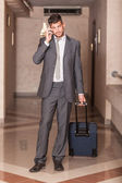 Businessman ready to Depart with Trolley — Stock Photo