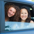 Two Happy Women in the Car — Stock Photo