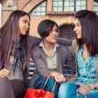 Three Happy Women After Shopping - Stockfoto