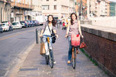 Two Beautiful Women Walking in the City with Bicycles and Bags — Zdjęcie stockowe