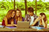 Grupp tonåriga elever på park med dator och böcker — Stockfoto