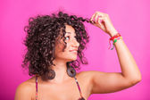 Young Woman with Curly Hairs — Photo