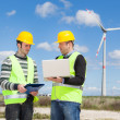 Stock Photo: Two Engineers in a Wind Turbine Power Station
