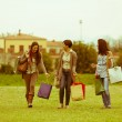 Young Women at Park after Shopping — Stock Photo #18817087