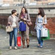 Beautiful Young Women Walking in the City with Shopping Bags — Stock Photo