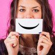 Happy Young Woman with Smiley Emoticon — Stockfoto