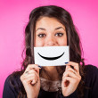 Happy Young Womwith Smiley Emoticon — Stock Photo #18957751