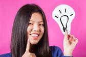 Femme chinoise avec le symbole de l'idée — Photo