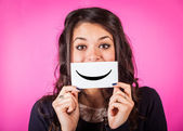 Happy Young Woman with Smiley Emoticon — Foto Stock