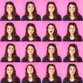 Young Woman on Fuchsia, Multiple Expressions — Stock Photo