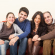 Foto Stock: Happy Family on the Sofa