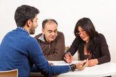 Man tijdens examen of job interview — Stockfoto