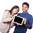 Happy Young Couple with Tablet PC — Stock Photo #19306603