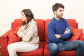 Young Couple on the Sofa after Quarrel — Foto de Stock