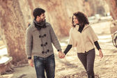 Romatic Young Couple Walking in the City — Stock Photo