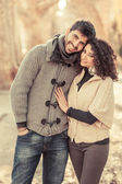 Happy Young Couple Outside, Valentine's Day — Stockfoto