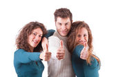 Three Happy Friends with Thumbs Up — Stock Photo