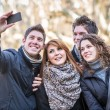 Group of Friends taking Self Portraits with Mobile Phone — Stock Photo #21067587