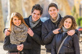 Group of Friends Embraced Outdoor — Stock Photo