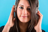 Happy Woman Listening Music with Headphones — Stock Photo