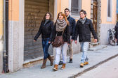 Group of Friends Walking in the City — Stok fotoğraf