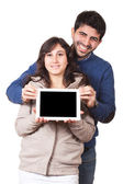 Happy Young Couple with Tablet PC — Stock Photo