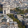 Stock Photo: Arc de Triomphe seen from Tour Eiffel