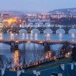Stock Photo: Prague at Twilight, view of Bridges on Vltava