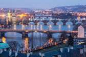 Prague at Twilight, view of Bridges on Vltava — Stok fotoğraf
