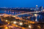 New Futuristic Bridge in Bratislava at Twilight — Stock Photo
