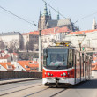 Tram in Prague with Castle in Background — Photo