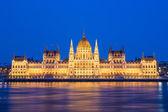 议会和大农在布达佩斯在黄昏 — 图库照片