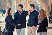 Group of Friends Talking Outside — Stock Photo