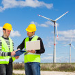 Two Engineers in a Wind Turbine Power Station — Stock Photo #23932591