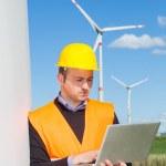 Technician Engineer in Wind Turbine Power Generator Station — Stock Photo #23932831
