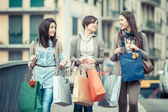 Three Beautiful Young Women with Shopping Bags — Foto Stock