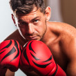 Stock Photo: Boxer in Locker Room
