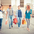 Group of Friends with Shopping Bags - 图库照片