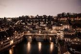 Night View of Bern and Aare River — Stock Photo