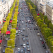 Stock Photo: PARIS, FRANCE - OCTOBER 2: Tilt-Shift View of Champs Elysees fro