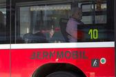 BERN, SWITZERLAND - FEBRUARY 29: Senior Woman Going by Bus on Fe — Stock Photo